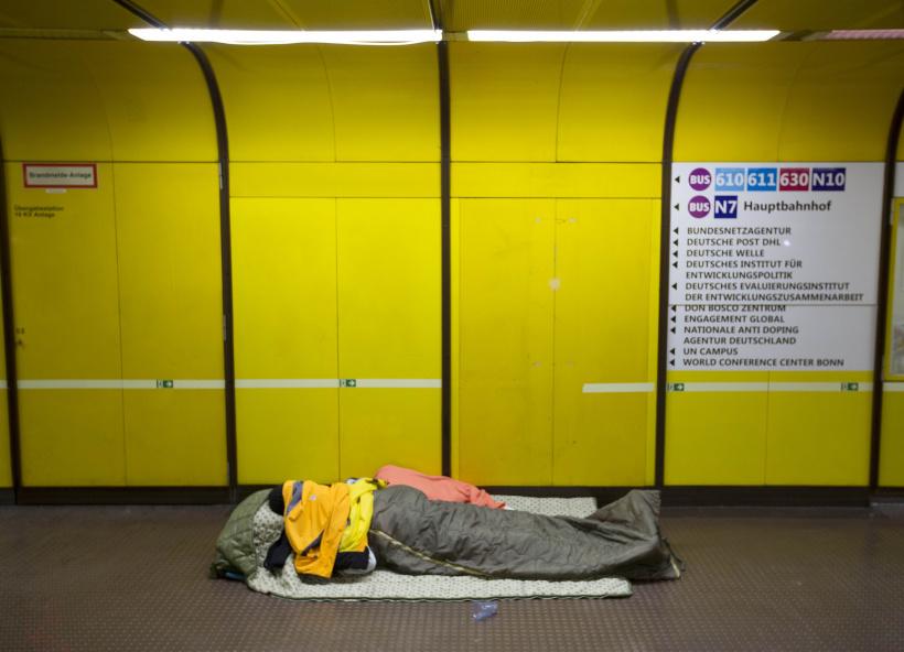 Obdachloser Haltestelle